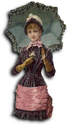 Victorian scrap: Woman with umbrella