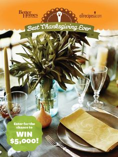 Enter our Best Thanksgiving Ever Pin & Win Sweepstakes today for a chance to win 5,000 dollars!