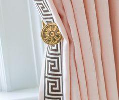 Blush and Greek Key Window Panels