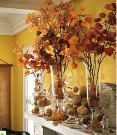 39 Amazing Fall Mantel Décor Ideas : Fall Mantel Décor With Brown Wall Stone Fireplace Pumpkin Fall Flower Ornament