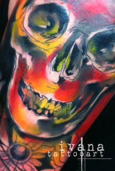 Skull Watercolor Illustration http://instagram.com/ivanatattooart