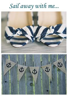 Cute nautical wedding shoes and bunting!