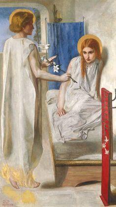 """""""Ecce Ancilla Domini!"""" (The Annunciation) - Dante Gabriel Rossetti 1849-50"""