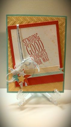 Stampin Up Perfect Pennants and On Film framelits, chevron embossing folder