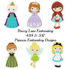 Princess Design Set 4 4X4 and 5X7: Breezy Lane Embroidery