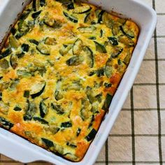 Monster Zucchini and Basil Strata Recipe; if you find a monster zucchini in the garden this is a delicious way to use it! [from Kalyn's Kitchen] #LowCarb #GlutenFree #Zucchini #Casserole