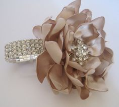 For N Champagne Satin Rhinestone Wrist Corsage Bracelet Bride Bridesmaid Mother of the Bride Prom with Rhinestone Accent..... Ready To Ship on Etsy, $38.00