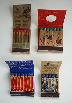 Collection of vintage feature matchbooks. Feature matches are ones where the matches themselves are printed, often in very imaginative and sweet ways.