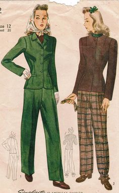 Trouser and jacket looks for the stylish 1940s gal (Simplicity 4362). #vintage #sewing #pattern #1940s