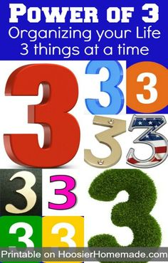 Power of 3: Organizing your Life: 3 things at a time | More on HoosierHomemade.com