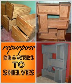 diy ideas, books, cupboard, old drawers, shelves, bookcas, dressers, dresser drawers, wooden crates