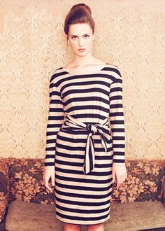 People Tree Angela Stripe Tie Dress - 100% organic cotton - fall 2012 #eco-friendly #ethical #responsible #fashion