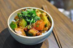 Sashimi marinated over rice