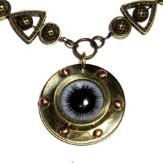 Steampunk Jewelry   NECKLACE  Blue taxidermy glass eye by CatherinetteRings