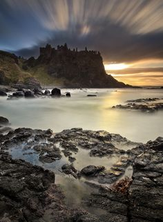 A long exposure using the 10 stop filter at Dunluce Castle on the North Antrim Coast in N Ireland.