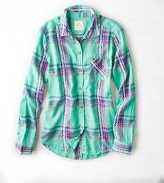 AEO Jaquard Plaid Sh