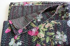 Twin Bed Cover or Blanket in Black Floral with Blues and by gypsya, $78.00