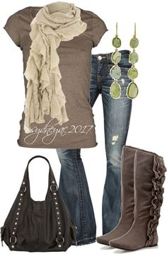 cute boots, and love the top w/scarf