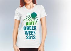 "Greek Week Screenprinting Shirt Designs ""Greek Week Sunshine"" Design $9.90 each, 24 piece minimum #Greek #GreekWeek #Sorority #Fraternity  #Clothing #AlphaOmicronPi #AOPi #AOII"