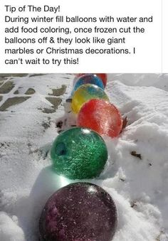 Frozen colored ice balls from balloons.