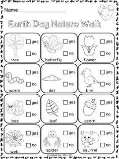 Earth Day Literacy and Math Printables - Earth Day Nature Walk Check List preschool earth day, preschool nature walk, preschool earth science, kindergarten homeschool math, science kindergarten preschool