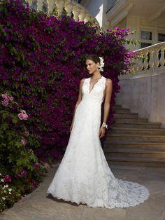 Robe de mariée A-ligne Dentelle Soie Satin Dos nu