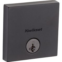 Kwikset Downtown Low Profile Square Contemporary Iron Black Single Cylinder Deadbolt Featuring SmartKey Security-258 SQT 514 SMT - The Home Depot