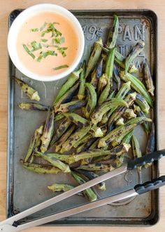 Grilled Okra with Spicy Chipotle Dipping Sauce #recipe