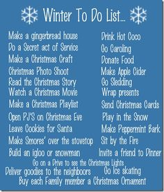 Winter to do List.