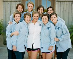 Monogrammed wedding party shirts....I love a well-placed detail like this...makes for great pictures...plus they're easy to take off for hair/make-up on the morning of