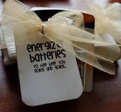 Funny 80th birthday favors....Energizer batteries to keep you going and going.