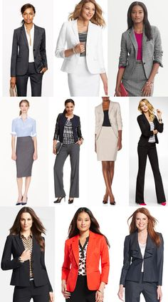 Different ideas for outfits for a job interview