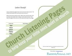 Church Listening Pages - help your little ones stay quiet in church | RaisingArrows.net