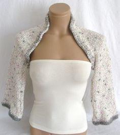 Hand knitted crocheted white gray pink bolero shrug by Arzus, $49.90