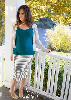 Striped Ruched Maternity skirt (left out the ruching)