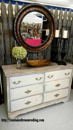 Farmhouse dresser/buffet. I LOVE how the top turned out on this one.
