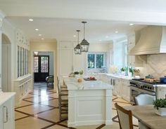 breakfast rooms, glass doors, kitchen idea, traditional kitchens, floor design, range hoods, island, marbl, white kitchens
