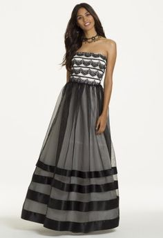 Strapless Lace Stripe Dress from Camille La Vie and Group USA