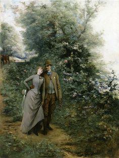 art paintings, histor romanc, jule victor, georg jule, georgesjulesvictor clairin, clairin french, 18431919, victorian man, afternoon stroll