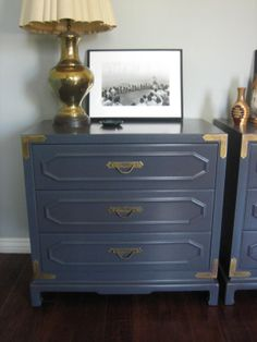European Paint Finishes: Campaign Style Bedside Tables ~