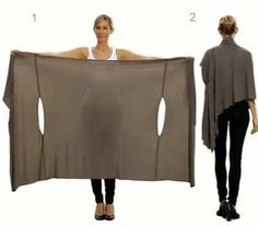 DIY idea for extremely versatile Wrap. It can be worn as a scarf, cardigan, poncho, blouse, shrug, stole, turtleneck, shoulder scarf, back wrap, front wrap, tunic and headscarf.