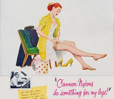 Cannon Nylons from 1951. #vintage #ad #1950s #nylons #woman #redhead #fashion