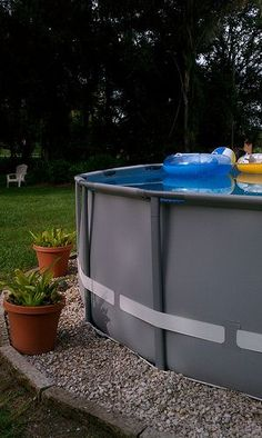 landscaping+around+above+ground+pools | Landscaping around base of Intex Ultra Frame pools  Above Ground ...