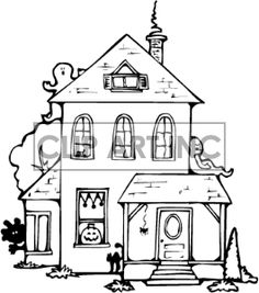 Clip art of black and white haunted house. | 144925