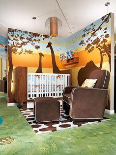 Safari themed room, so cute. Love the walls