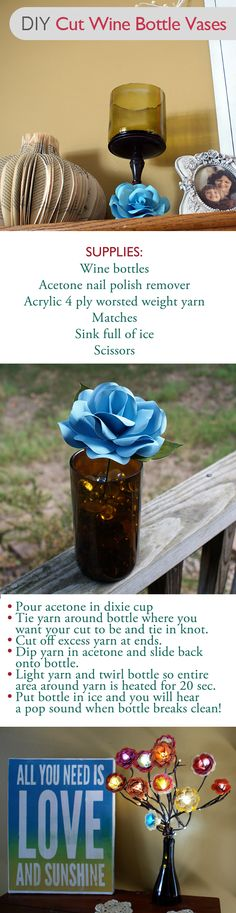 Easily Cut Wine Bottles for vases/candle holders/housewarming gifts in this Video Tutorial from savedbylovecreations.com