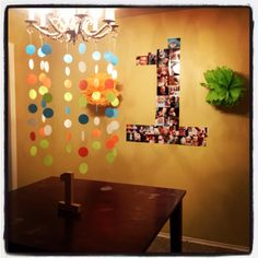 1st birthday decor! My baby boy loved looking and touching the poms and streamers.