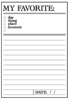 "Printable- I've kept a journal of this (written in by myself) for years! It's fun to look back. I always change it up - usually have fav. song, sometimes outfit, or ""to-do"" and usually, my favorite person at the time :)"
