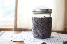 Mason Jar Mug with Knitted Cozy and Reusable Drinking Lid
