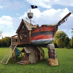Pirate ship playhouse... so awesome... but so expensive!